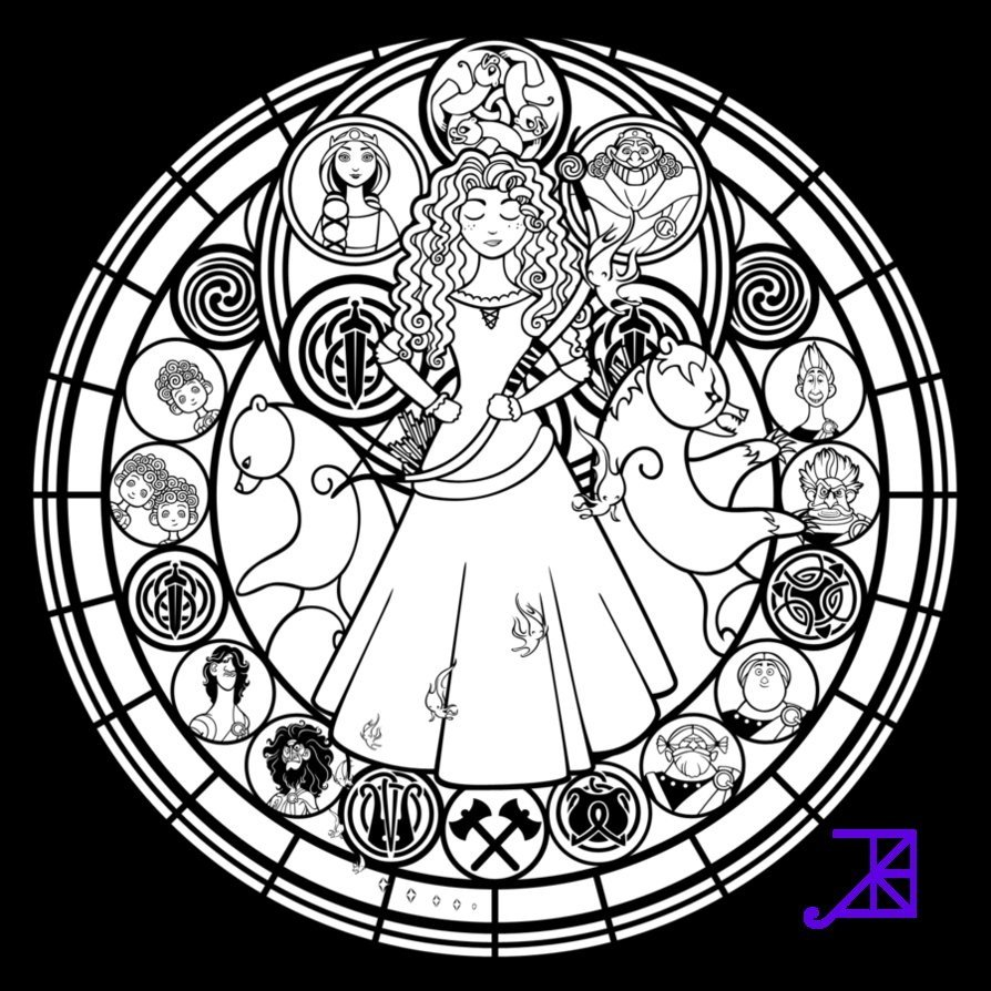 Stained glass butterfly coloring pages - Disney Stained Glass Pattern