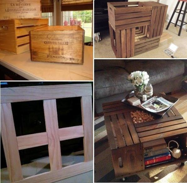 20 diy wooden crate coffee tables guide patterns for Diy cassette shelf
