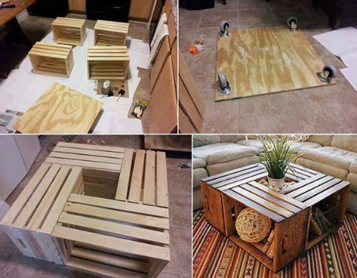 DIY Wine Crate Coffee Table - 20 DIY Wooden Crate Coffee Tables Guide Patterns