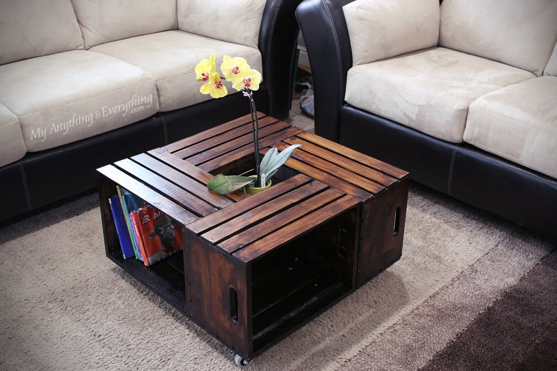 20 diy wooden crate coffee tables guide patterns. Black Bedroom Furniture Sets. Home Design Ideas