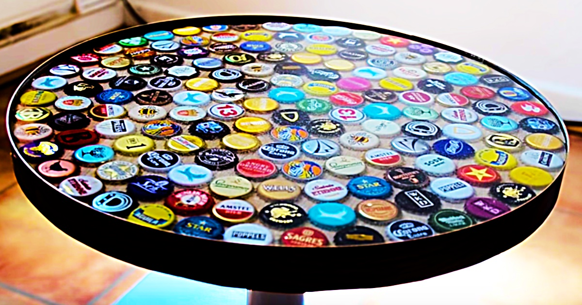 18 diy beer bottle cap table designs guide patterns for Cool bottle cap designs