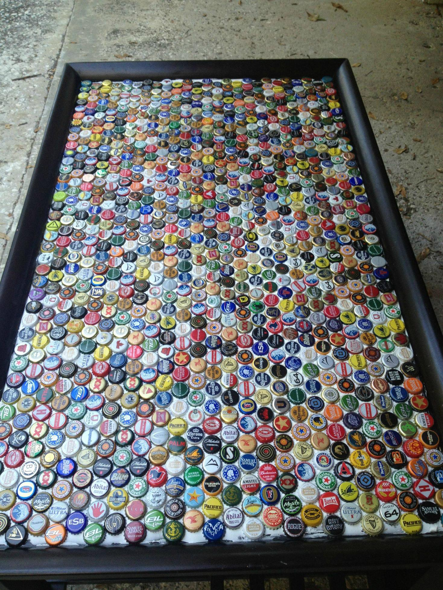 18 DIY Beer Bottle Cap Table Designs