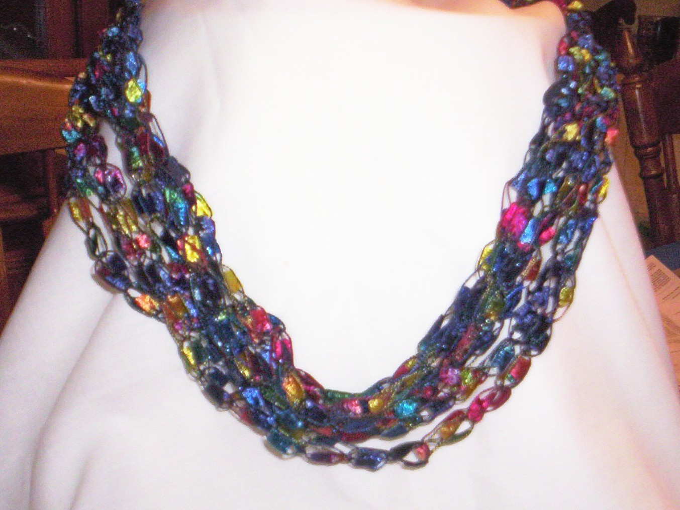 crocheted necklaces from trellis yarn