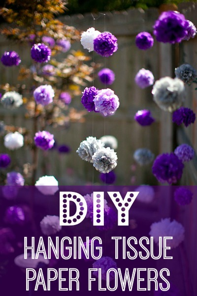 How to hang tissue paper pom poms