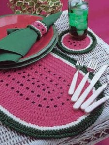 Crochet Watermelon Placemat