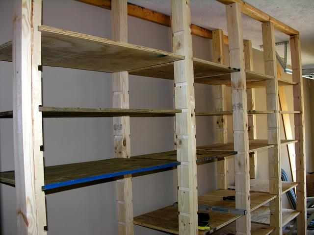 20 diy garage shelving ideas guide patterns for Wooden garage plans