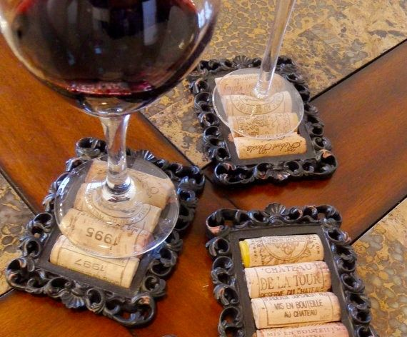 wine cork coasters with picture frames