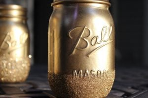 Glitter Painted Mason Jars