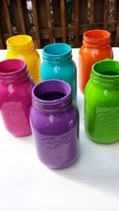Painted Wide Mouth Mason Jars