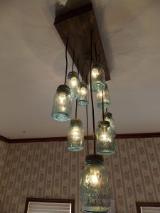 Blue Mason Jar Chandelier