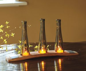 Cut Wine Bottle Candle Holder