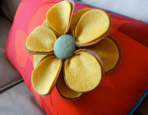 Felt Flower On Pillow