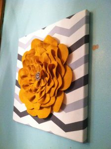 Felt Flower On Canvas