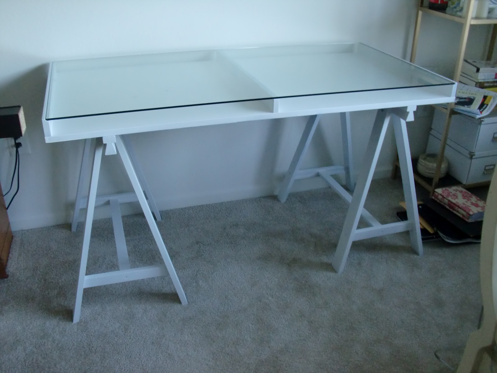 Glass Sawhorse Desk