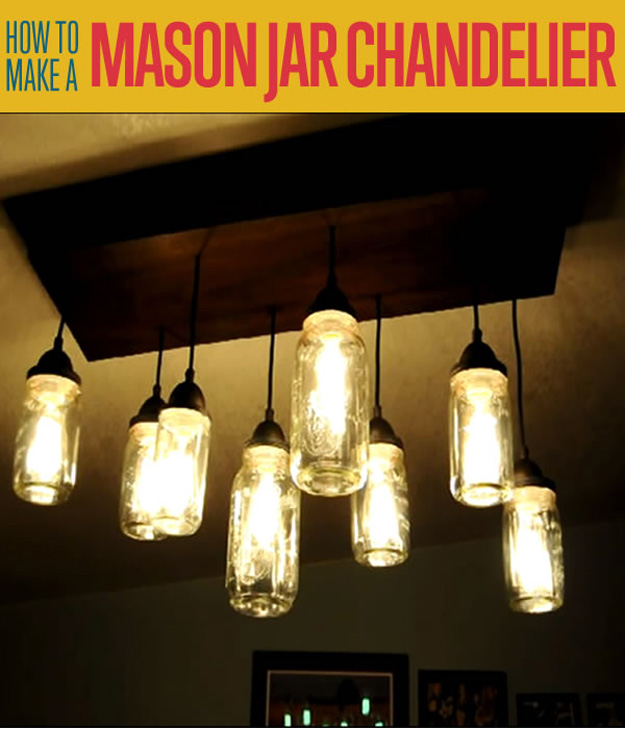 18 DIY Mason Jar Chandelier Ideas | Guide Patterns:Homemade Mason Jar Chandelier,Lighting