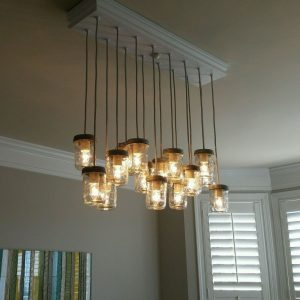 Mason Jar Glass Chandelier