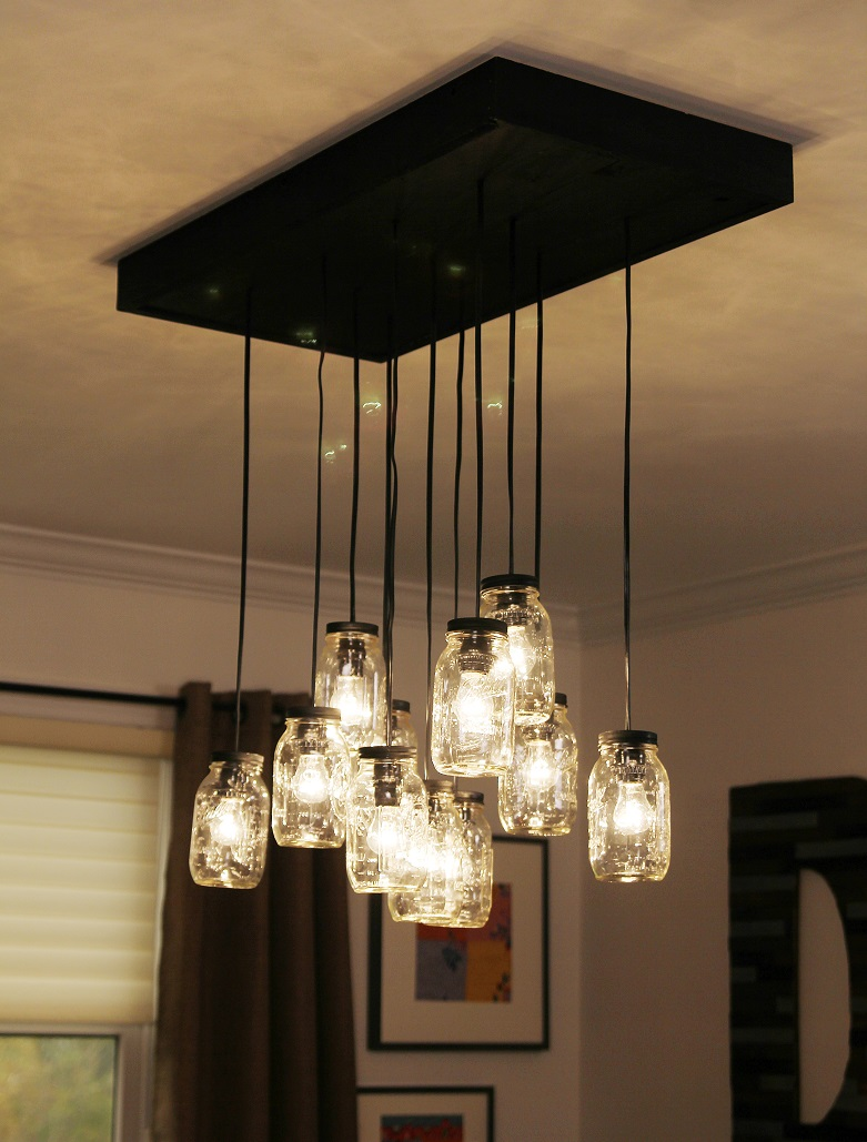 18 diy mason jar chandelier ideas guide patterns for Hanging light fixtures for dining room