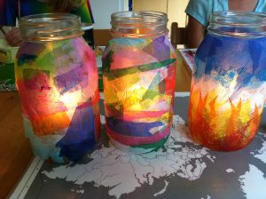 Mason Jar Lanterns with Tissue Paper