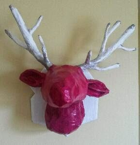 Paper Mache Deer Head Wall Art
