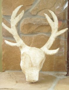 Paper Mache White Deer Head