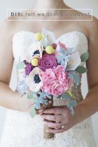 Turquoise Felt Flower Wedding Bouquet