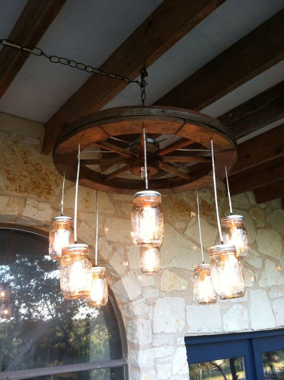 18 DIY Mason Jar Chandelier Ideas | Guide Patterns:Wagon Wheel Mason Jar Chandelier,Lighting