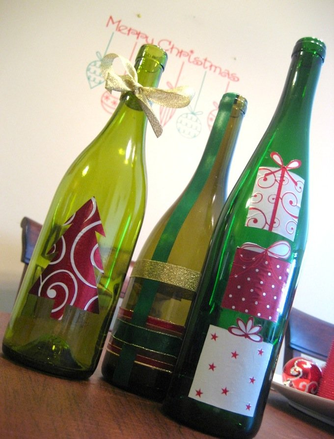 wine bottle christmas crafts - Christmas Bottle Decorations