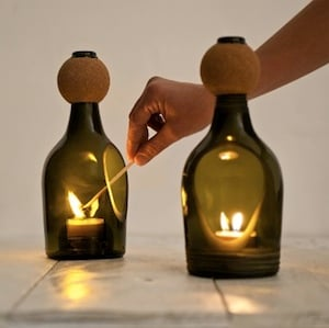 Wine Bottle Tealight Candle Holders