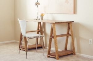 Wood Sawhorse Desk
