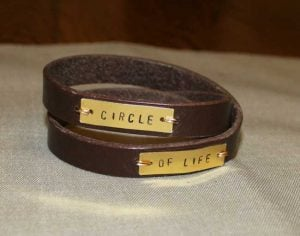 Leather Wrap Bracelet with Words