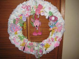 Baby Shower Wreath Gifts Made from Diapers