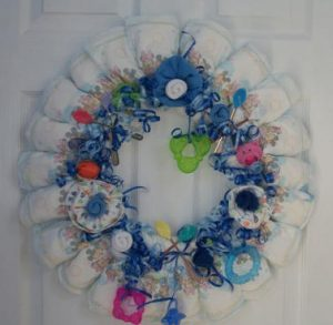 Baby Shower Wreath Gift Made Out Of Diapers