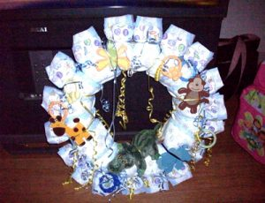Baby Shower Wreath Gift to be Made with Diapers