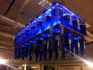 Blue Wine Bottle Chandelier