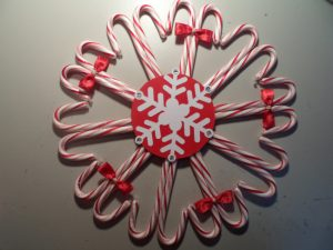 Candy Cane Wreath with Snowflake