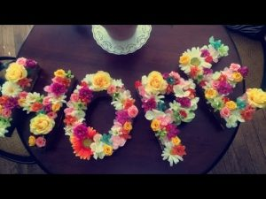 Cardboard Letters with Flowers