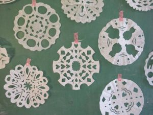 DIY Coffee Filter Snowflakes