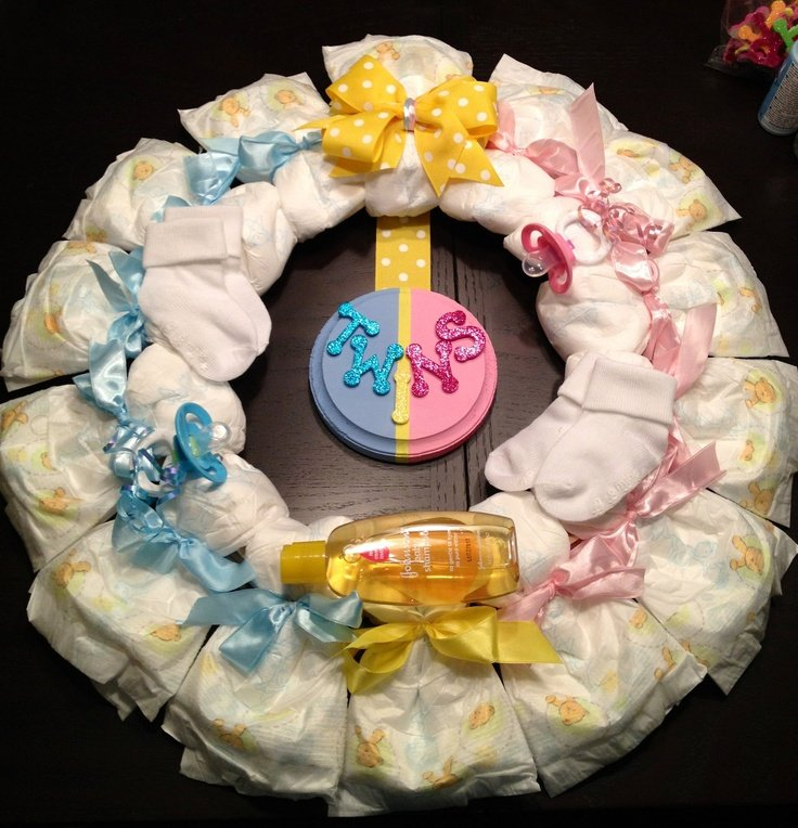 diaper wreath for twins