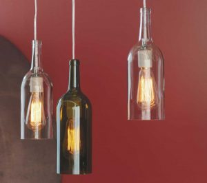 how to make a hanging lamp from a wine bottle. Black Bedroom Furniture Sets. Home Design Ideas