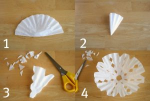 Making Coffee Filter Snowflake