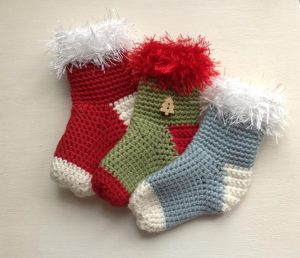 Crochet Pattern for Mini Christmas Stockings