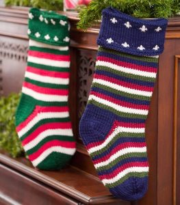 Striped Crochet Christmas Stockings