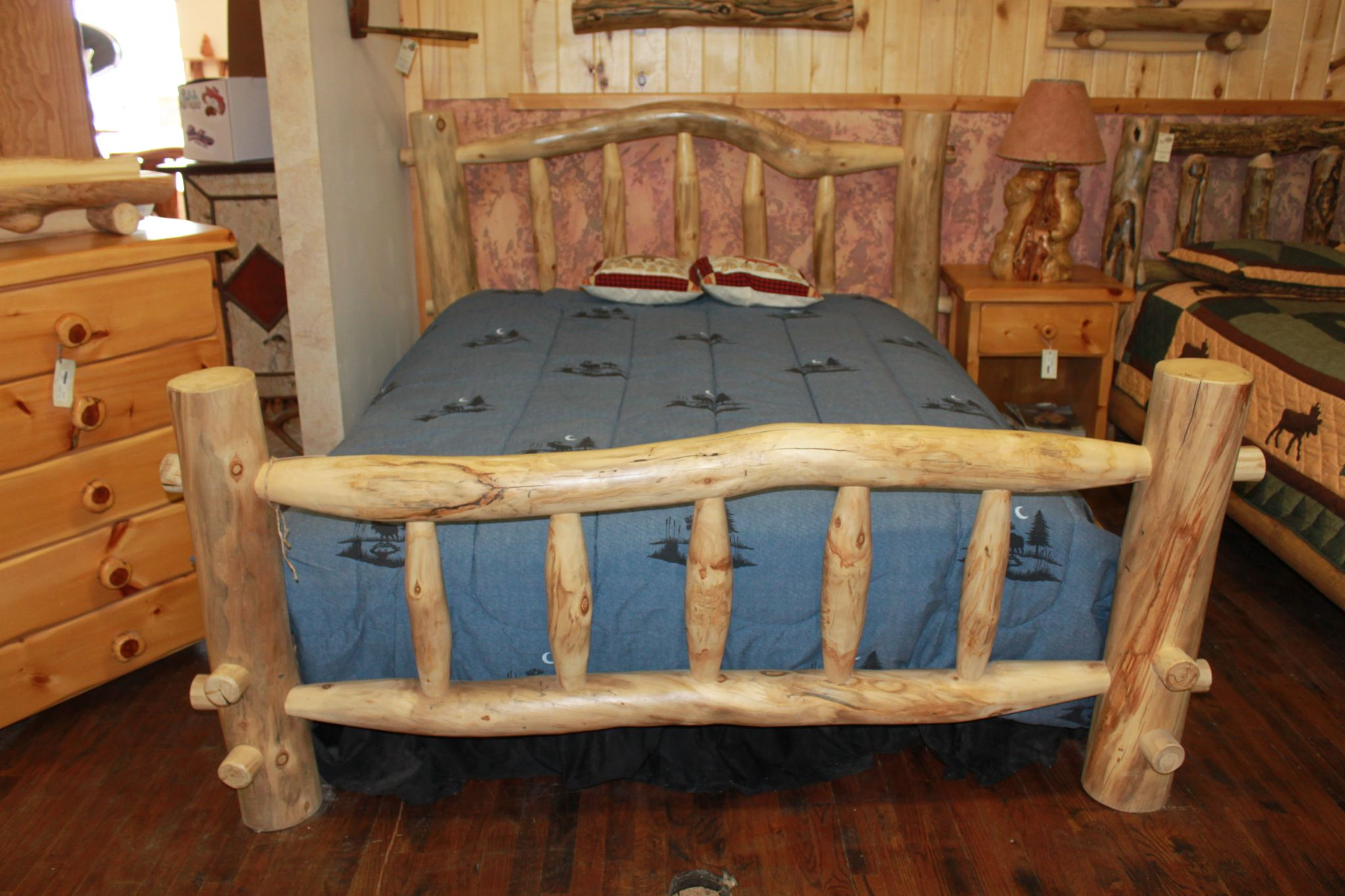 wooden log bed frame