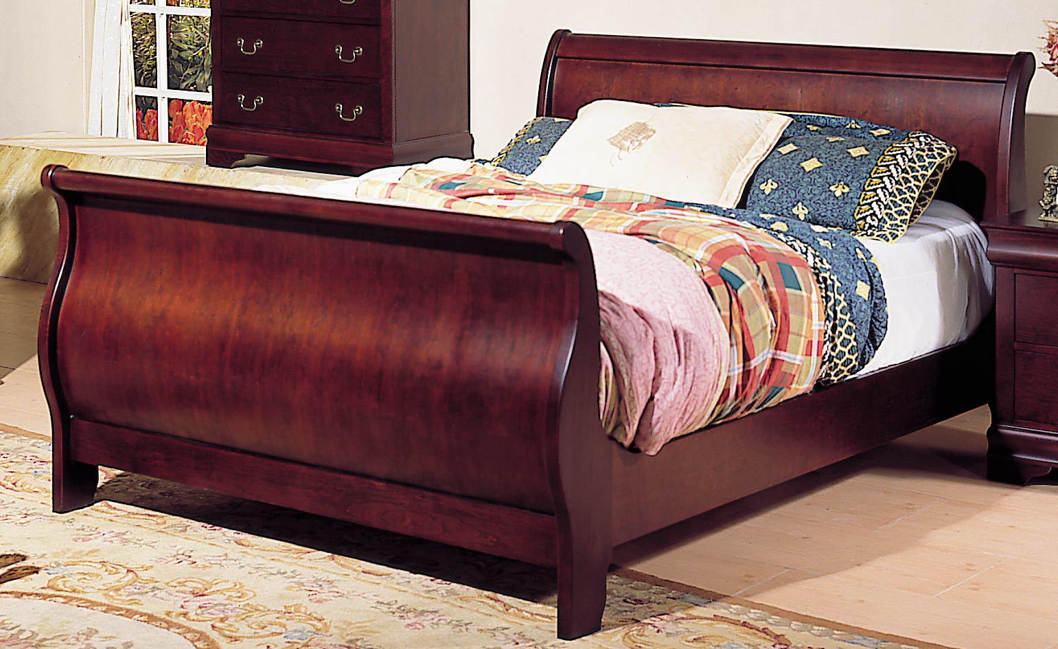 Queen Cherry Sleigh Bed Frame