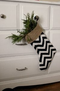 Burlap Chevron Christmas Stocking