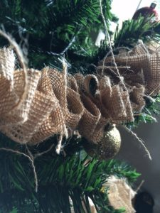 Burlap Garland on Tree