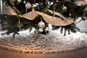 Burlap and Lace Christmas Tree Skirt