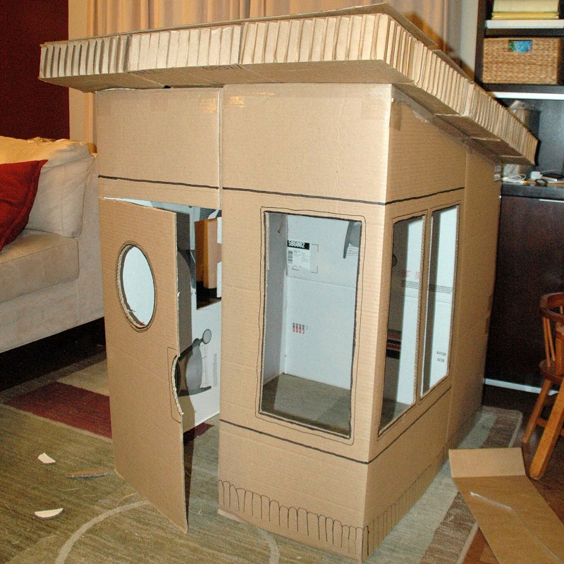 16 diy cardboard playhouses guide patterns for How to make a playhouse out of wood