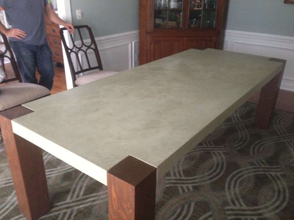 How to build a dining room table 13 diy plans guide for How to make designs in concrete