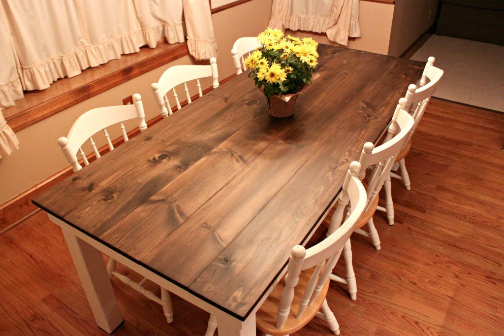 Homemade Kitchen Table Ideas Part - 31: DIY Farmhouse Dining Table